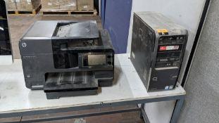 Compaq computer plus Hewlett Packard OfficeJet Pro 8620 printer