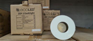 32 off EcoLED ZEP2 Darklight downlights in white with black inner trim. 4000K. Product code Z2D-W-40