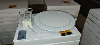 10 off ZEN flat round panel lights, model ZEN-F-16-40-80-120-N1. 16W, 4000K. Each lamp includes an L