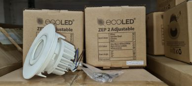 26 off EcoLED ZEP2 fixed white downlights, 4000K, model Z2-F-W-10-40-80-45-D4 - 2 boxes & 6 individu