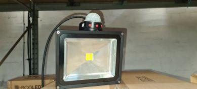 4 off EcoLED floodlights with built-in sensors. Item ZIP30WWWPIR, 36W LED PIR floodlights