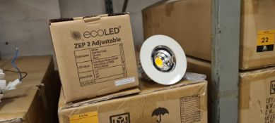 10 off EcoLED adjustable downlights in white, with no inner bezel. Product code Z2-E-W-10-40-80-45-D