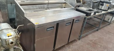 Foster stainless steel triple door refrigerated prep cabinet with saladette unit above, model FPS1/3
