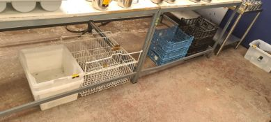 4 stacks of assorted plastic trays & baskets