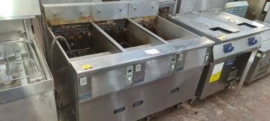 Pitco Frialator stainless steel large mobile triple fryer system (3 x SE14R)