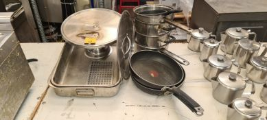 Mixed lot comprising cake stand, trays, pans & lid