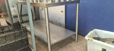 Twin tier shelving unit with small rim/upstand to 3 sides. Max. external dimensions 1200mm x 555mm x