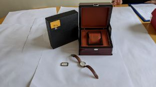 Maurice Lacroix wristwatch in stainless steel on leather strap. Water resistant 50M. Engraved EL109