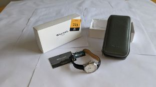 William L 1985 stainless steel watch, 5 ATM water resistant, leather strap, RRP £129. Includes box
