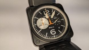 """Bell & Ross watch engraved """"BR03-94-S-02936"""", stainless steel case, rubber strap, automatic movement"""