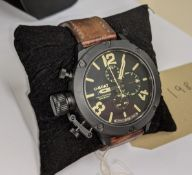 U-BOAT watch reference 6548/1, Calibre U-77, titanium with black finish, marked no. 281 of 300 on th