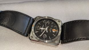 """Bell & Ross watch engraved """"BR03-93-S-00851"""" on the rear. Stainless steel on leather strap, automati"""