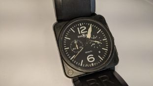 """Bell & Ross watch engraved """"BR03-94-S-05254"""" on the rear. Stainless steel, automatic movement, rubbe"""