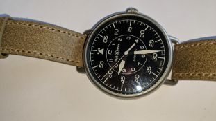 """Bell & Ross watch engraved """"BRWW1-92-S-02369"""" on the rear. Automatic movement, leather strap. Water"""