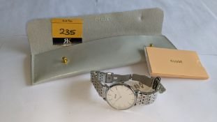 Cluse watch on metal bracelet including Cluse pouch. 5 ATM water resistant. RRP £99