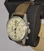 """Bell & Ross watch engraved """"BR126-94-SS-11865"""" on the rear. Stainless steel, automatic movement, lea"""