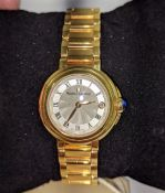 Maurice Lacroix watch in yellow gold finish. Engraved AV68055 FA1003 on the rear. Water resistant 30