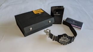 Oxygen watch product DVR40 in stainless steel on black leather strap. RRP £152. Includes Oxygen trav