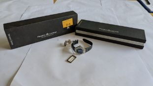 Maurice Lacroix watch in stainless steel with sapphire crystal & leather strap. Water resistant 100