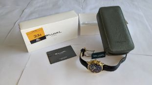 William L 1985 stainless steel watch, 5 ATM water resistant, leather strap, RRP £139. Includes box