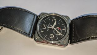 """Bell & Ross watch engraved """"BR03-97-S-00043"""" on the rear. Stainless steel, automatic movement, leath"""