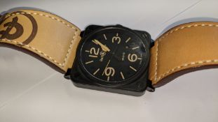"""Bell & Ross watch engraved """"BR03-92-S-12219"""". Stainless steel case, leather strap, automatic movemen"""