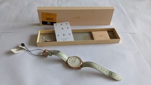 Cluse watch on leather strap including gift box. 3 ATM water resistant. RRP £89