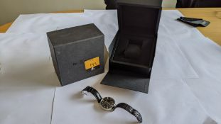 """Bell & Ross watch engraved """"BRWW1-97-S-00790"""" on the rear. Stainless steel, automatic movement, leat"""