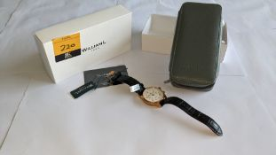 William L 1985 stainless steel watch, 5 ATM water resistant, leather strap, RRP £159. Includes box