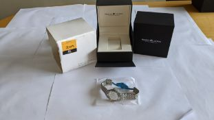 Maurice Lacroix stainless steel watch on stainless steel bracelet. Water resistant 100M. Engraved A