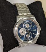 Maurice Lacroix wristwatch in stainless steel on stainless steel bracelet with see through back. Wa