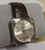 """Bell & Ross watch engraved """"BRS-92-S-01273"""" on the rear. Stainless steel, automatic movement, leathe"""