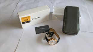 William L 1985 stainless steel watch, 5 ATM water resistant, leather strap, RRP £149. Includes box