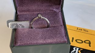 Platinum 950 & diamond 2mm wide ring with 0.10ct central diamond. RRP £1,263