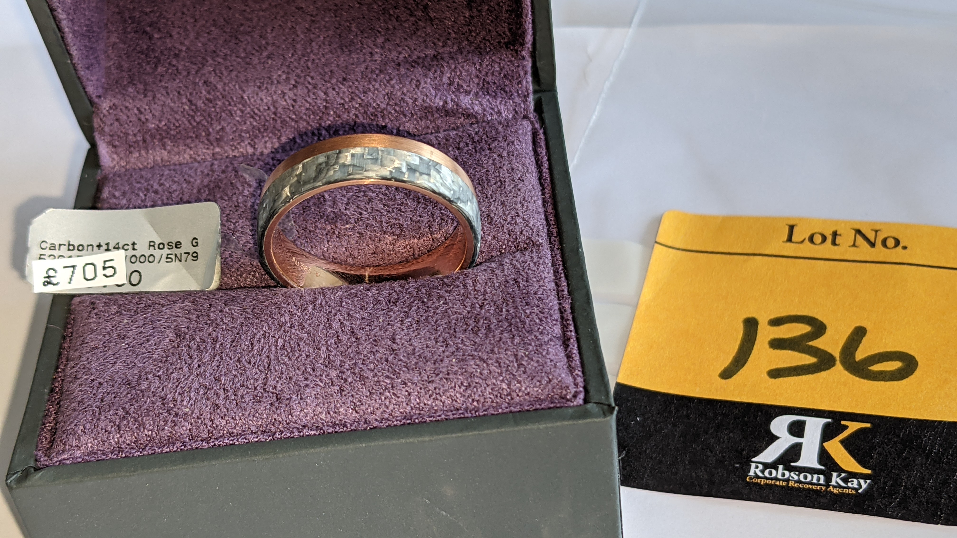 Carbon & 14ct rose gold ring RRP £705 - Image 2 of 13