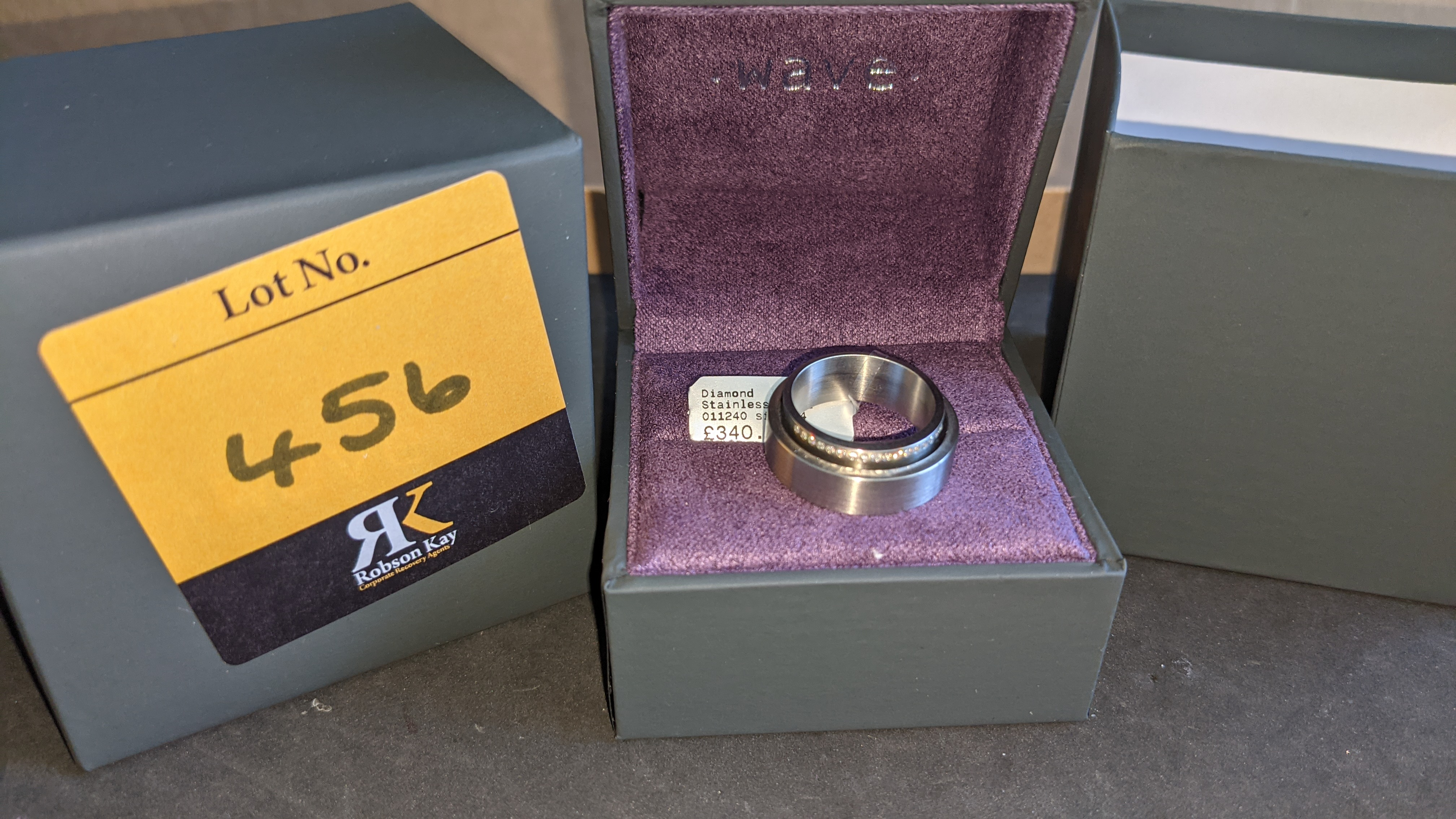 Stainless steel & diamond unusually shaped ring with inner & outer circles joined on one side, RRP £ - Image 2 of 11