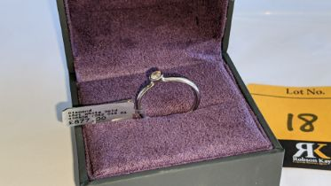 18ct white gold & diamond ring with centre stone in modern setting weighing 0.15ct. RRP £877
