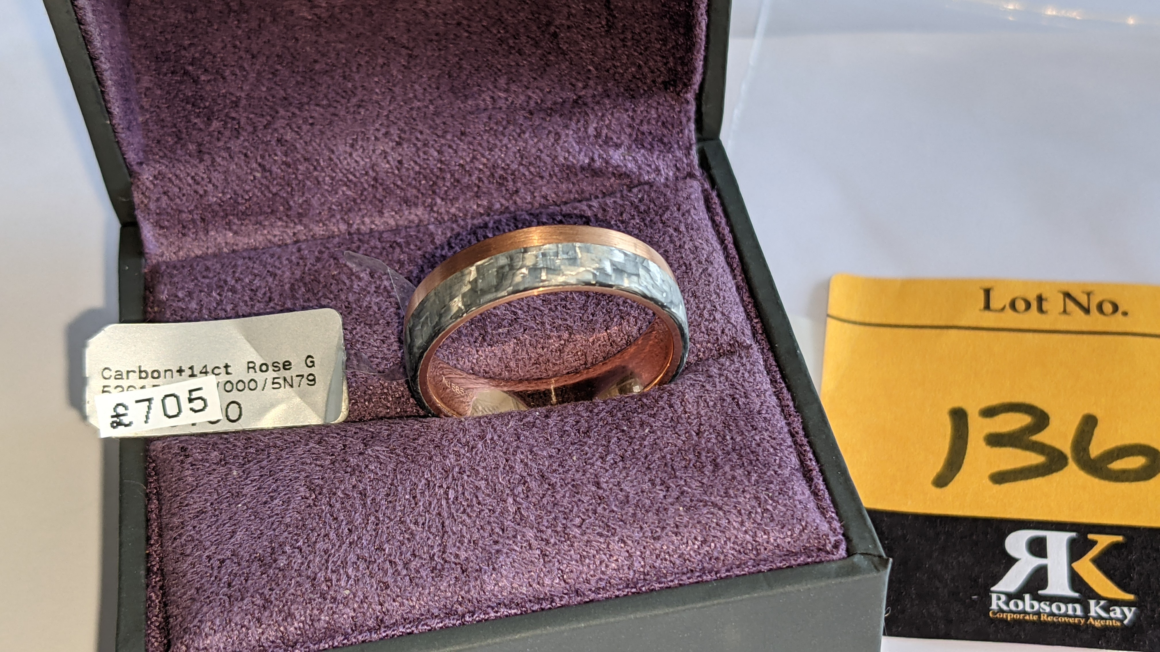 Carbon & 14ct rose gold ring RRP £705