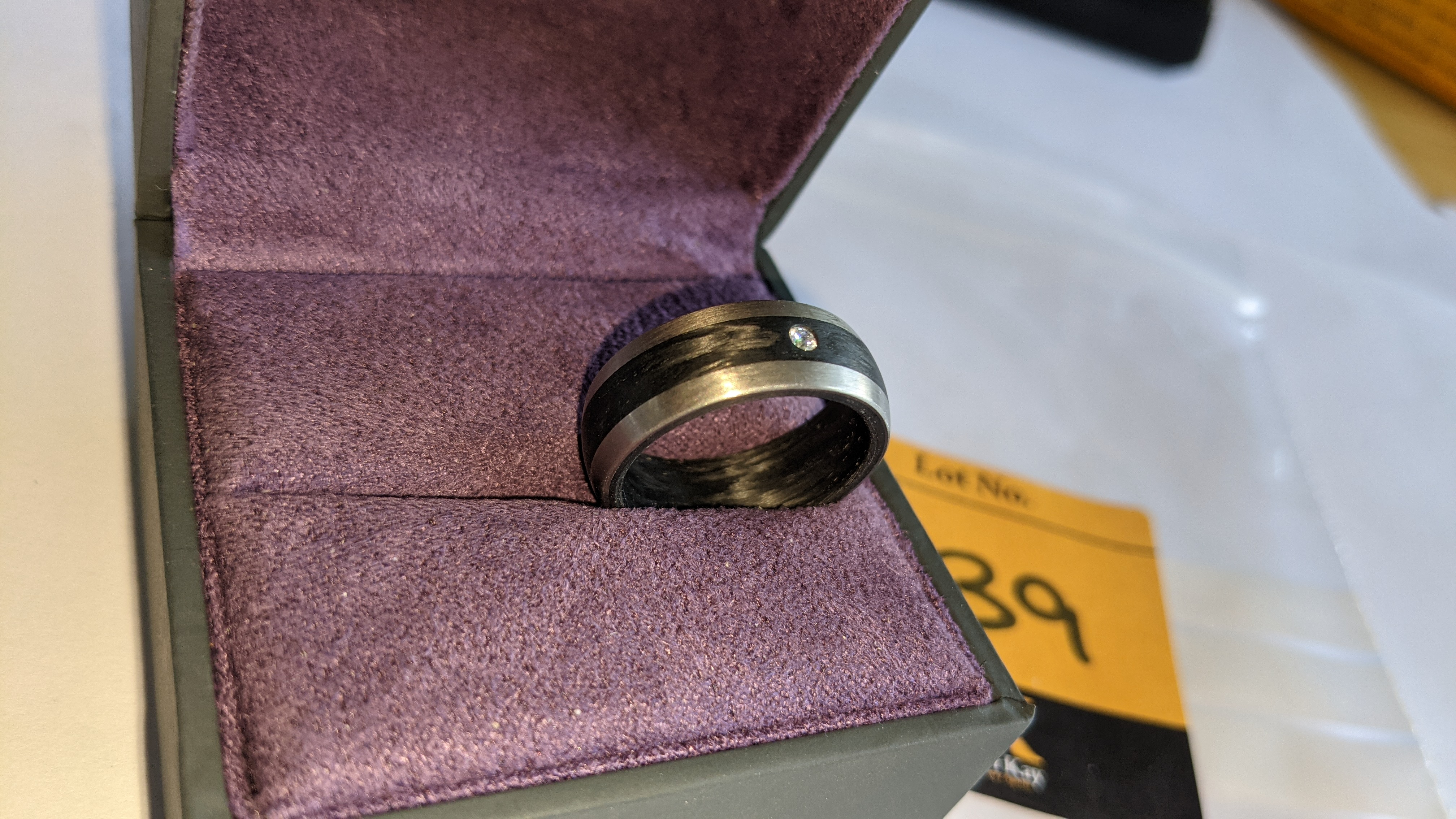 Ring understood to be made of Palladium, carbon & diamond - no price sticker or labelling on this ri - Image 5 of 13