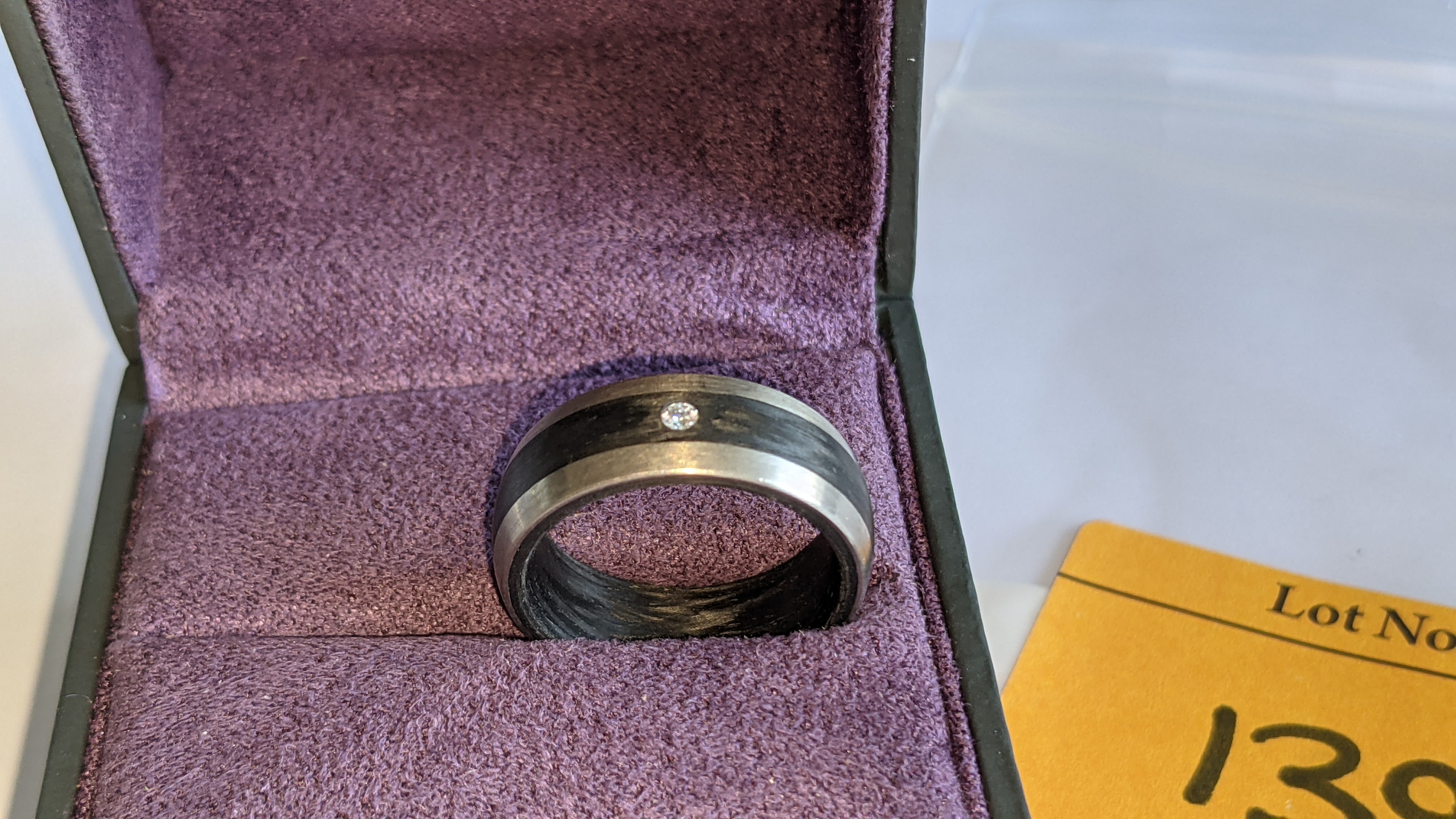 Ring understood to be made of Palladium, carbon & diamond - no price sticker or labelling on this ri - Image 3 of 13