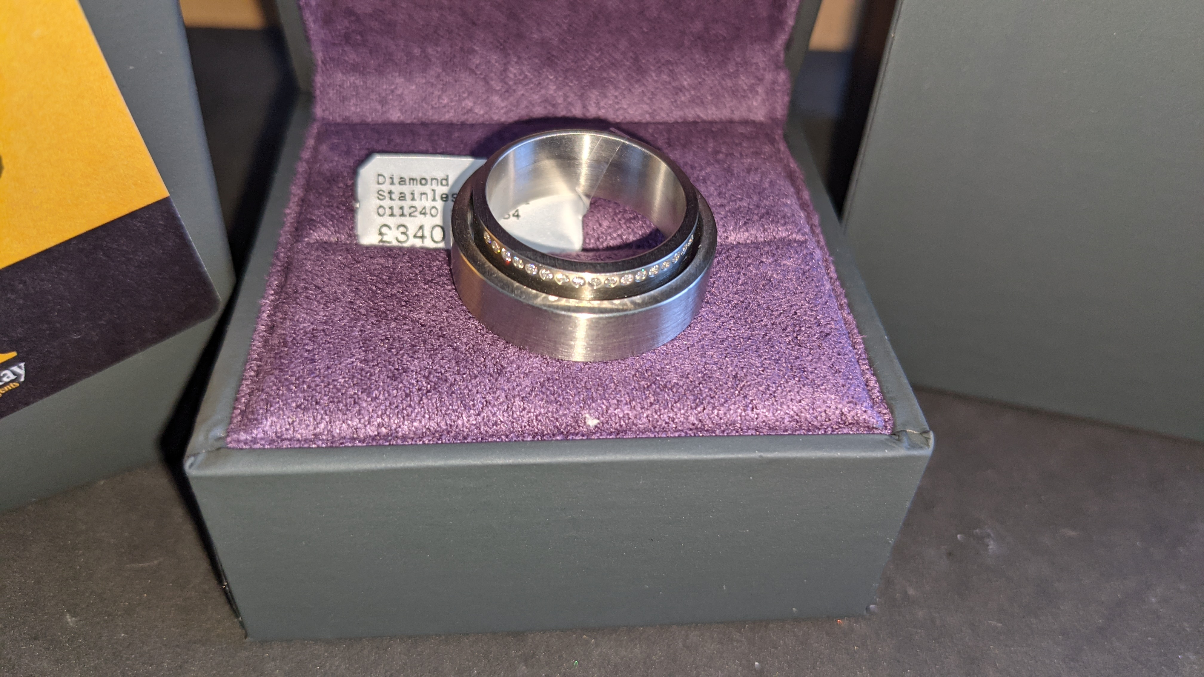 Stainless steel & diamond unusually shaped ring with inner & outer circles joined on one side, RRP £ - Image 3 of 11