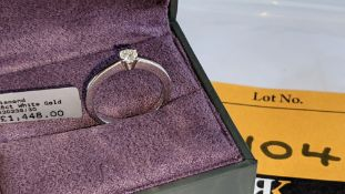 18ct white gold & diamond ring with 0.30ct H/Si stone RRP £1,448