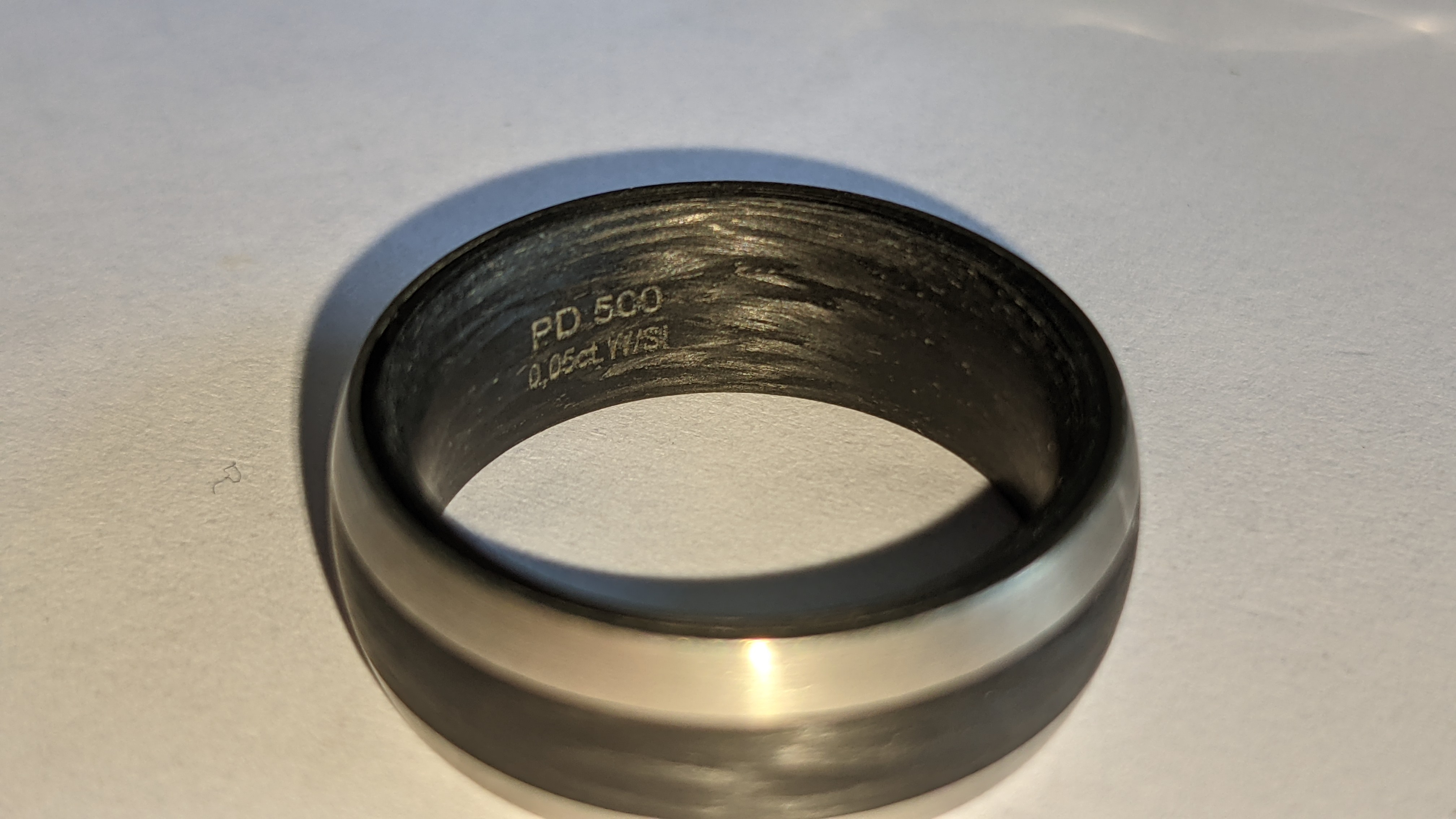 Ring understood to be made of Palladium, carbon & diamond - no price sticker or labelling on this ri - Image 7 of 13