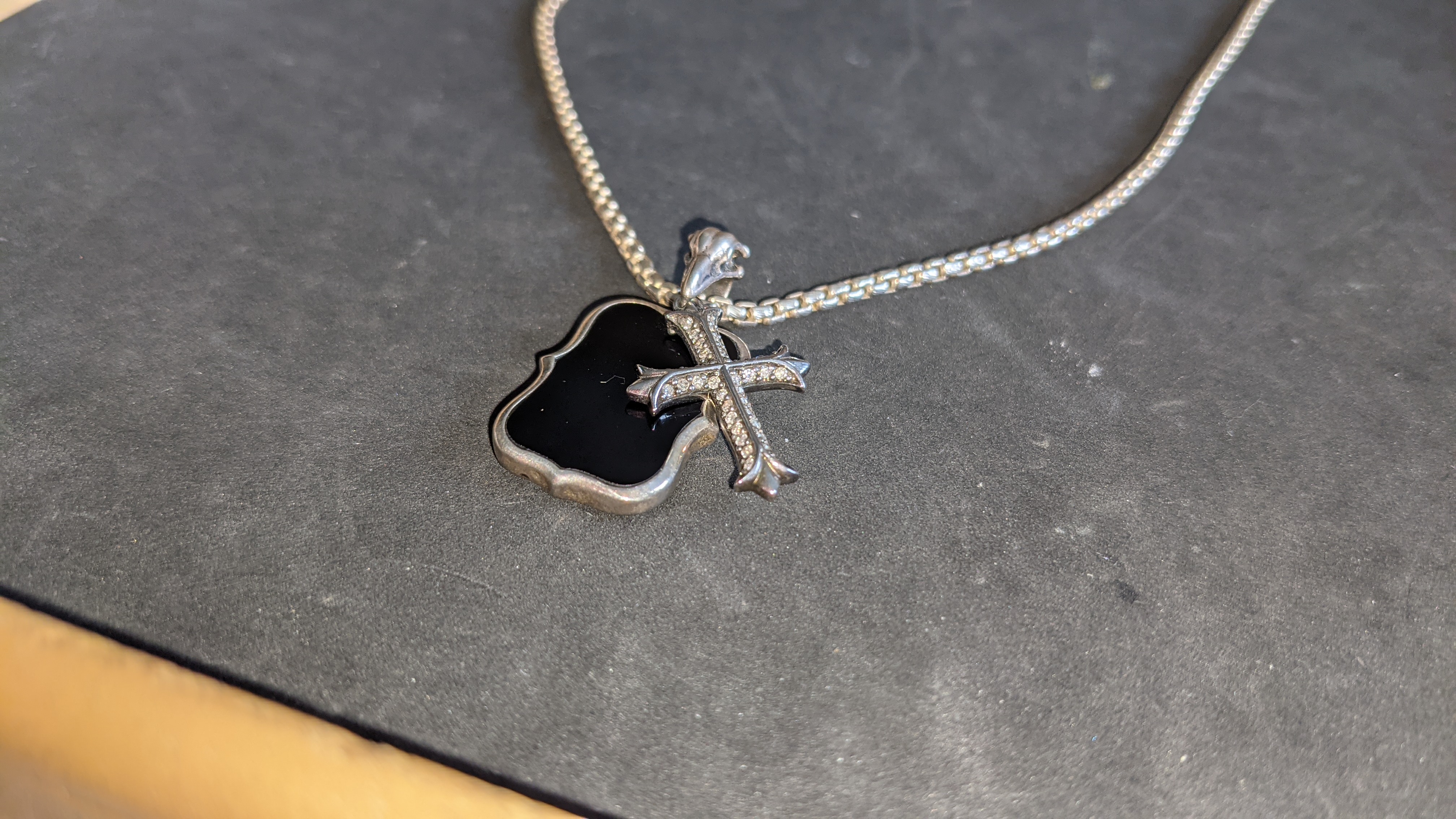 Silver gothic cross pendant on long chain RRP £489 - Image 7 of 12