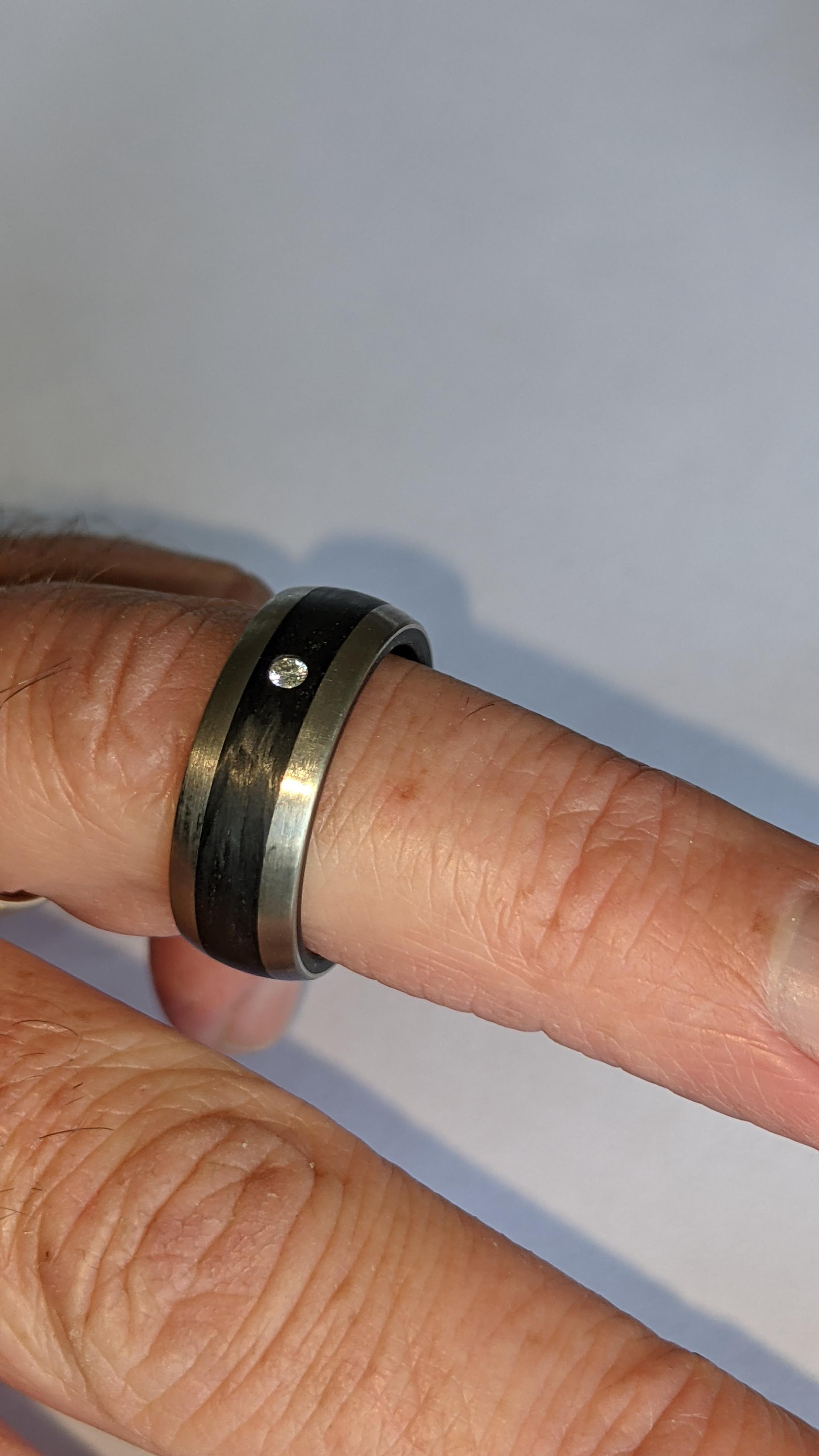 Ring understood to be made of Palladium, carbon & diamond - no price sticker or labelling on this ri - Image 12 of 13