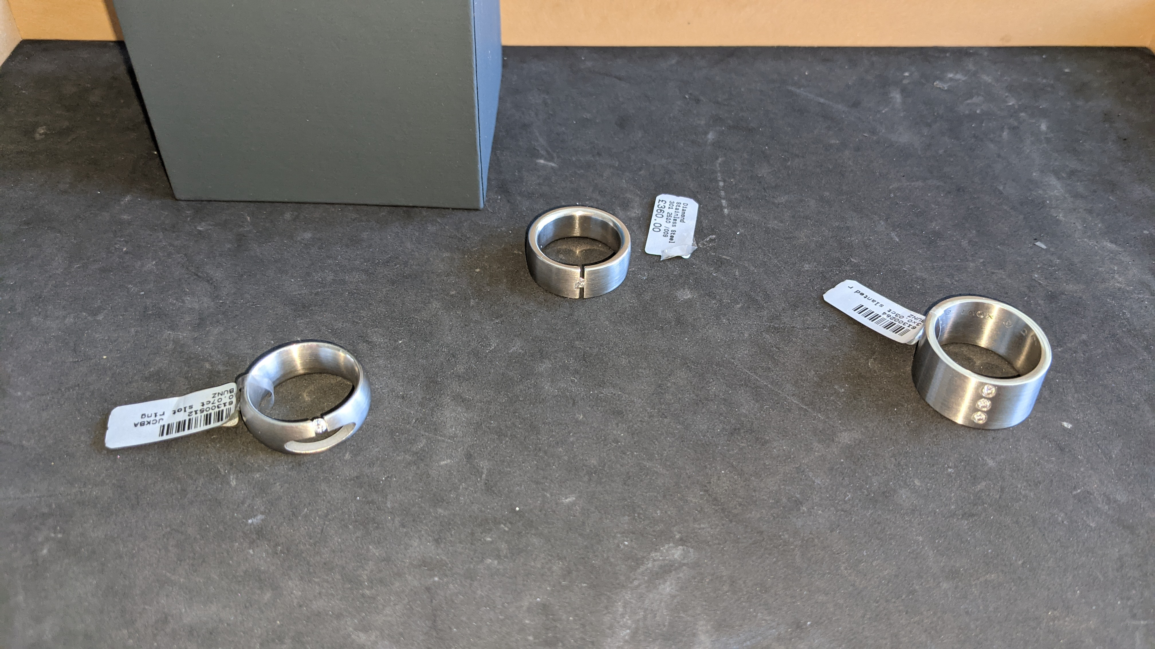 3 off assorted stainless steel & diamond rings with RRPs of £360, £378 & £379. Total RRP £1,117