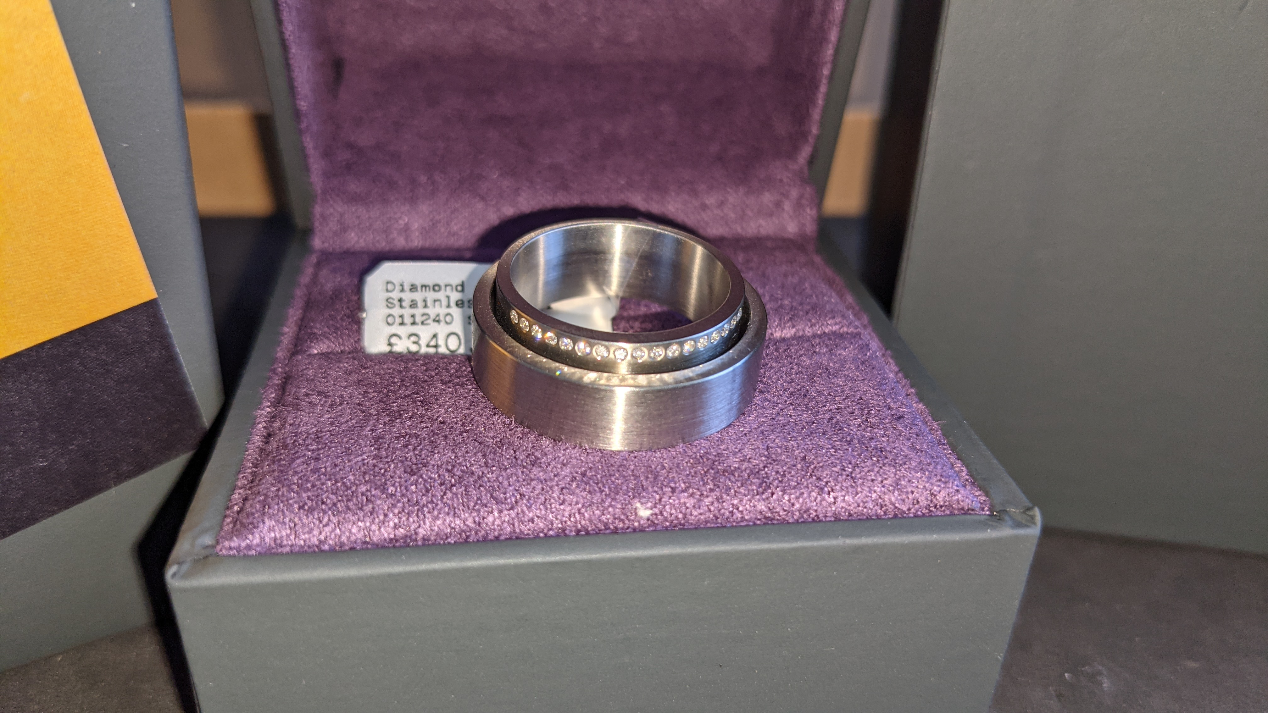 Stainless steel & diamond unusually shaped ring with inner & outer circles joined on one side, RRP £ - Image 4 of 11