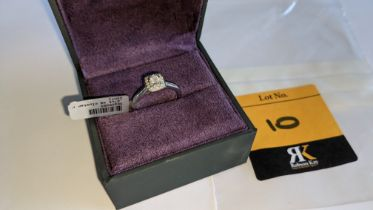 9ct white gold & diamond square cluster ring with 0.27ct of diamonds. RRP £735
