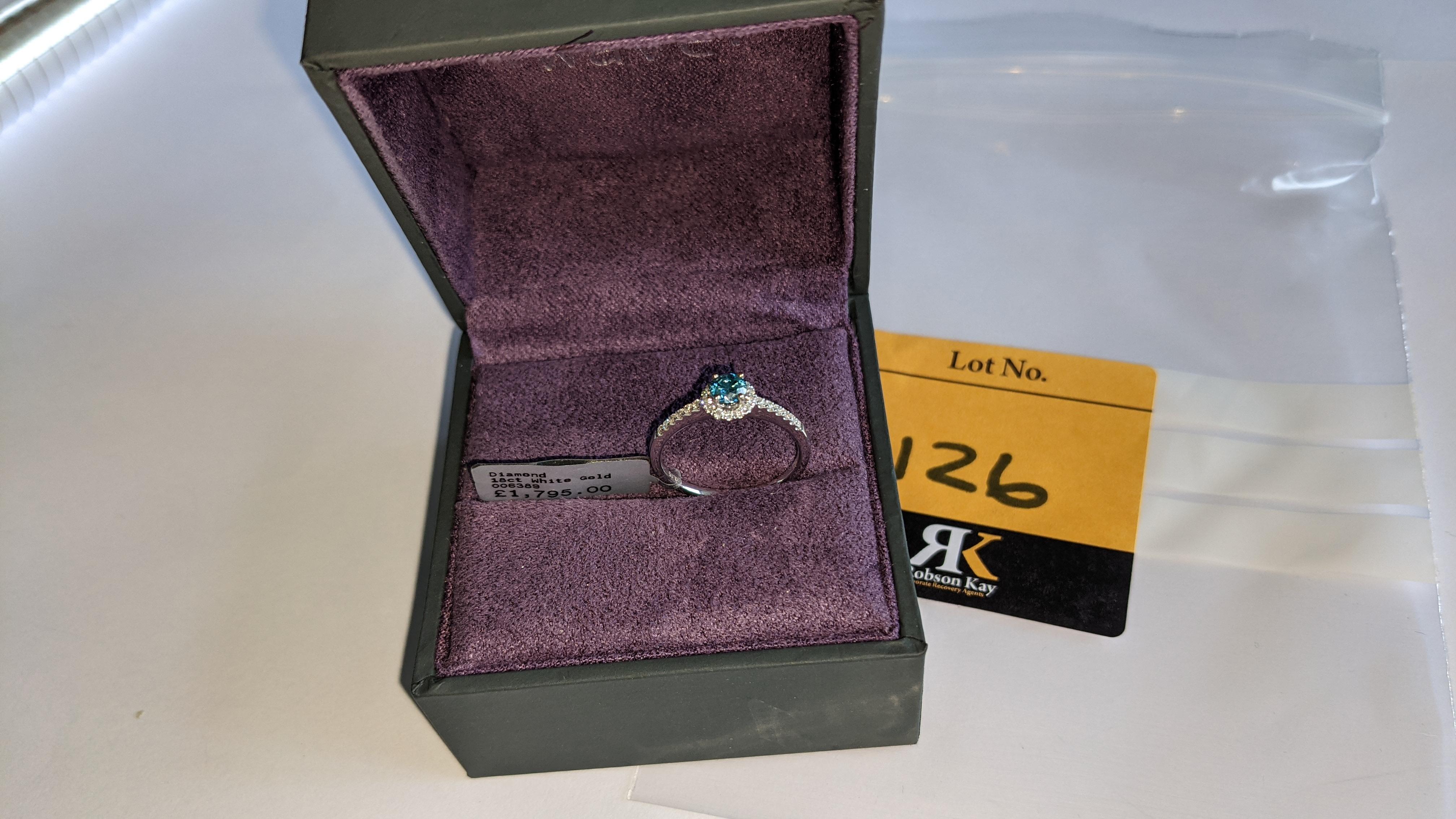 18ct white gold & diamond ring with 0.30ct blue diamond & 0.1ct of additional diamonds around the ce - Image 2 of 19