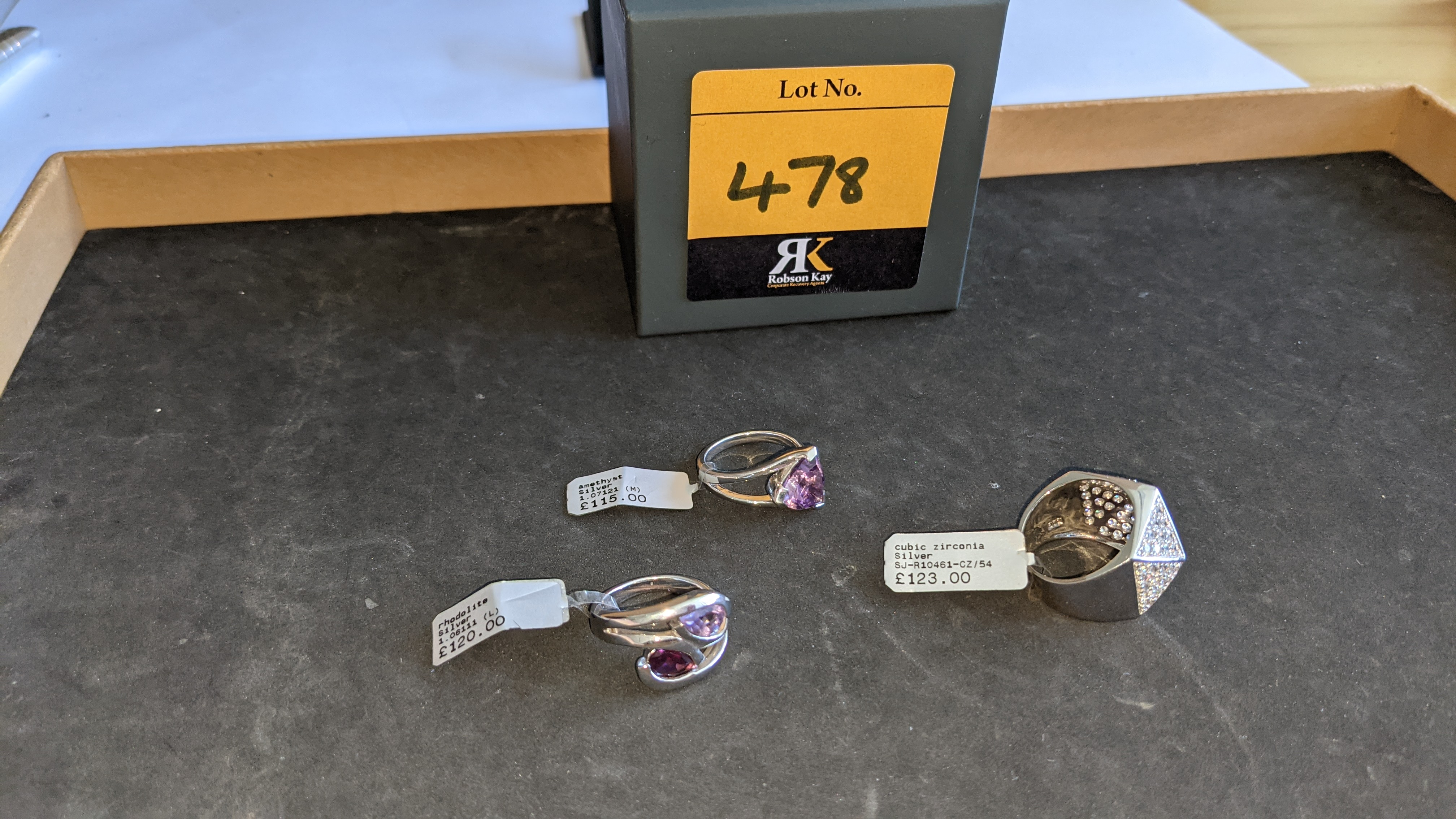 3 off assorted silver rings, each with a coloured stone. RRP from £115 - £123. Total RRP is £358 - Image 2 of 11